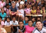 The Beckhams Visit Impoverished Kids at Local School in Sumba