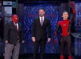 Tom Holland Loses His Spider-Man's Mask on 'Jimmy Kimmel Live!'