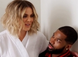 Tristan Thompson Cuddles and Kisses Khloe Kardashian at Kim's Birthday Party