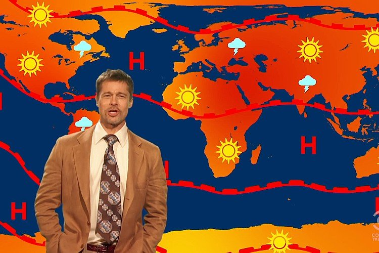 Brad Pitt Returns as Sarcastic 'The Jim Jefferies Show' Weatherman