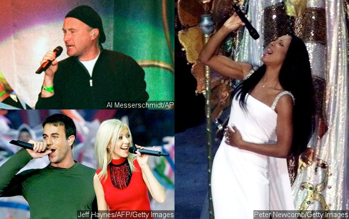 Phil Collins, Christina Aguilera, Enrique Iglesias and Toni Braxton at Super Bowl XXXIV