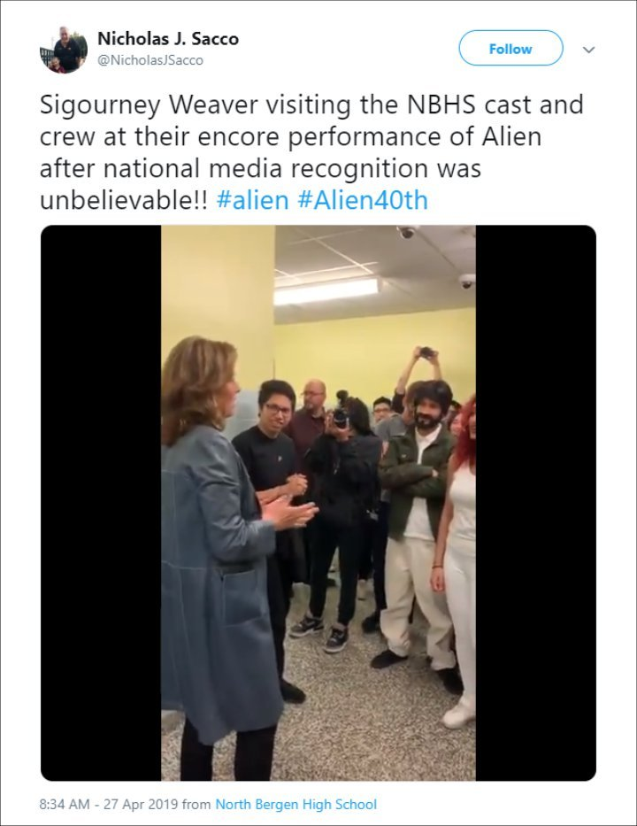 Sigourney Weaver introduced the encore of the 'Alien' high school play