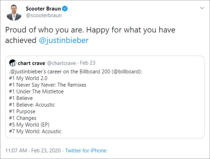 Scooter Braun gushed over Justin Bieber