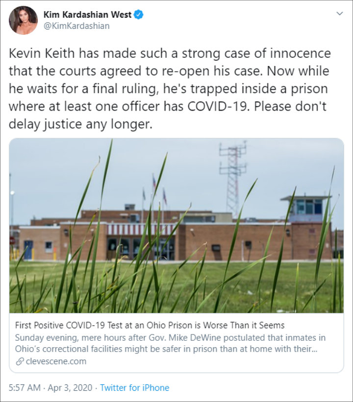 Kim Kardashian Calls for Release of Ohio Inmate Kevin Keith