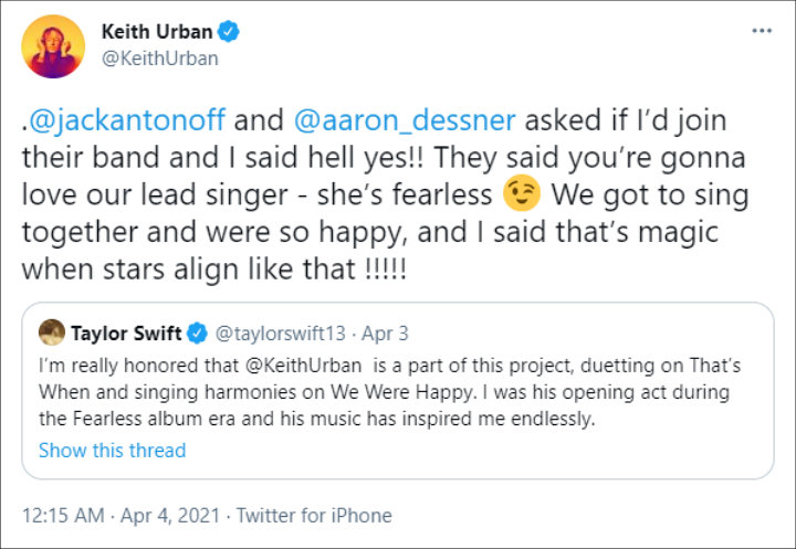 Keith Urban's Twitter Post