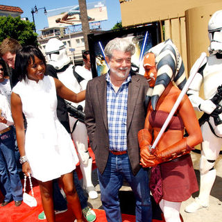 George Lucas, Mellody Hobson in Star Wars: The Clone Wars U.S. Premiere - Arrivals