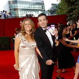 Jimmy Fallon, Nancy Juvonen in The 61st Annual Primetime Emmy Awards - Arrivals