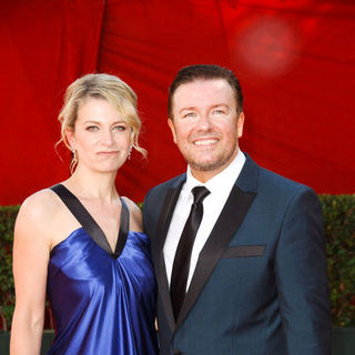 Ricky Gervais, Jane Fallon in The 61st Annual Primetime Emmy Awards - Arrivals