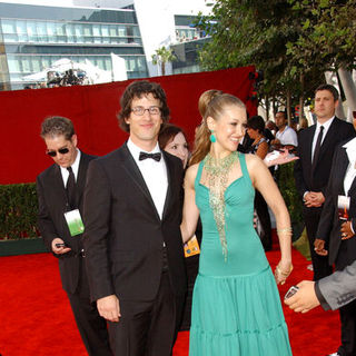 Andy Samberg, Joanna Newsom in The 61st Annual Primetime Emmy Awards - Arrivals