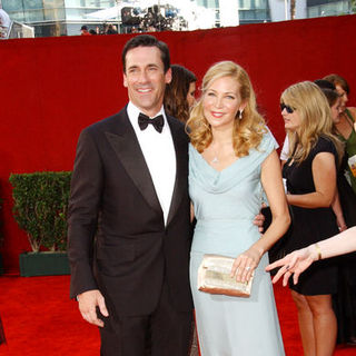 Jon Hamm, Jennifer Westfeldt in The 61st Annual Primetime Emmy Awards - Arrivals