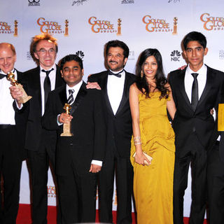 Anil Kapoor, Danny Boyle, Dev Patel, Freida Pinto in 66th Annual Golden Globes - Press Room
