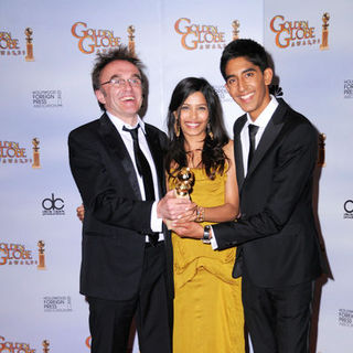 Danny Boyle, Dev Patel, Freida Pinto in 66th Annual Golden Globes - Press Room
