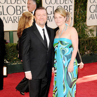 Ricky Gervais, Jane Fallon in 66th Annual Golden Globes - Arrivals