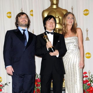 Jack Black, Kunio Kato, Jennifer Aniston in 81st Annual Academy Awards - Press Room