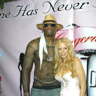 Cindy Margolis, Dennis Rodman in Lingerie Bowl III National Kick Off Party