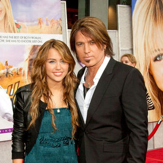"Miley Cyrus, Billy Ray Cyrus in ""Hanna Montana: The Movie"" World Premiere - Arrivals"