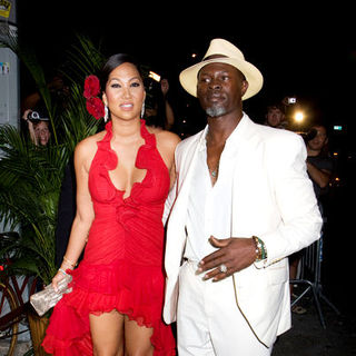 Djimon Hounsou, Kimora Lee Simmons in Marc Anthony's Surprise 40th Birthday Party at the Bowery Hotel in New York on September 14, 2008
