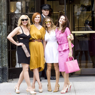 "Kim Cattrall, Cynthia Nixon, Sarah Jessica Parker, Kristin Davis in ""Sex and the City 2"" Filming in Midtown New York on September 8, 2009"