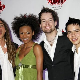 "David Archuleta, David Cook, Jason Castro, Syesha Mercado in American Idol Final Four Contestants Attend The Beatles ""Love"" by Cirque Du Soleil at the Mirage"