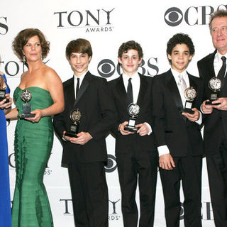 Alice Ripley, Marcia Gay Harden, Kiril Kulish, Trent Kowalik, David Alvarez, Geoffrey Rush in 63rd Annual Tony Awards - Press Room