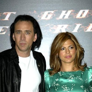 Nicolas Cage, Eva Mendes in The Ghost Rider Photocall at the Santo Mauro Hotel in Madrid