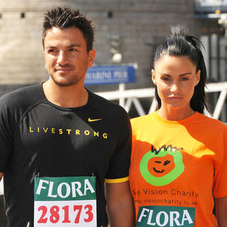 Katie Price, Peter Andre in Flora London Marathon on the River Thames on April 24, 2009