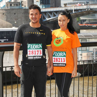 Peter Andre, Katie Price in Flora London Marathon on the River Thames on April 24, 2009