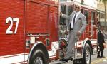 The Rock Rides Fire Truck to 'San Andreas' Hollywood Premiere
