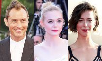 Jude Law, Elle Fanning, Rebecca Hall Filming Woody Allen's Movie in the Rain