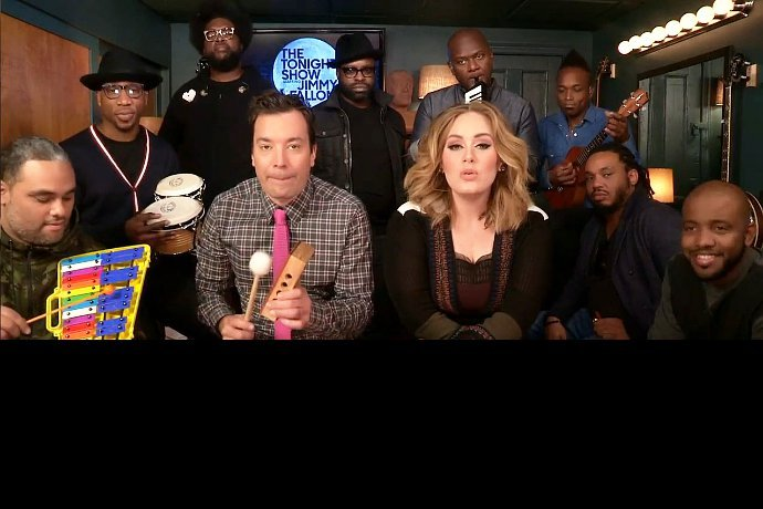 Adele Sings 'Hello' With Jimmy Fallon and The Roots Using Classroom Instruments