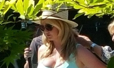 Kate Upton Spotted in Cleavage-Baring Swimsuit on the Set of 'The Layover'
