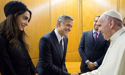 George Clooney and Wife Amal All Smiles While Meeting Pope Francis in Vatican City
