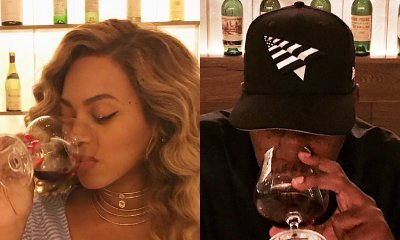 Busty Beyonce Shares Cute Photos of Her and Hubby Jay-Z Sipping Wine on Romantic Date
