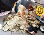 Lady GaGa Takes a Tumble With Style During Fashion Shoot