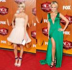 ACAs 2011: Carrie Underwood Flirty in Pink, Kristin Chenoweth Wows in Green