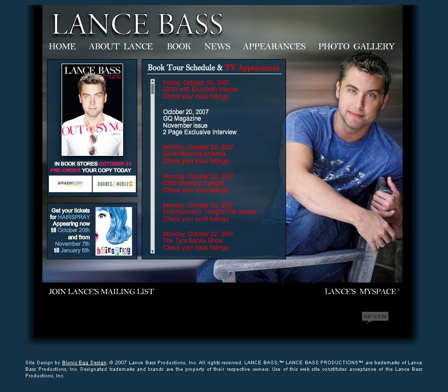 Onetime NSYNC Boy Lance Bass Launched Official Website