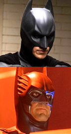 The different cowl of Batman in The Dark Knight (top) and Batman and Robin (1997)