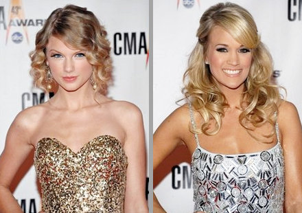 Taylor Swift and Carrie Underwood Hit 2009 CMA Awards' Red Carpet