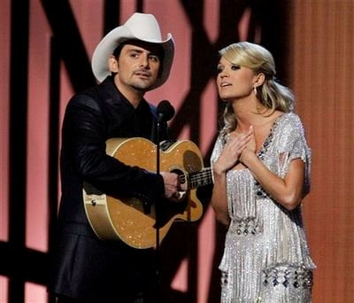 Video: Carrie Underwood, Brad Paisley Make Fun of Kanye West on CMAs Duet
