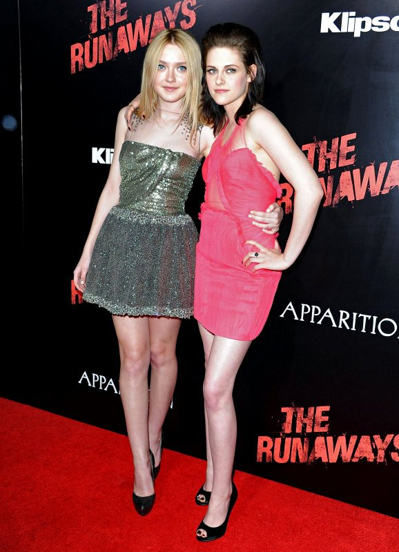 Dakota Fanning and Kristen Stewart at 'The Runaways' LA Premiere