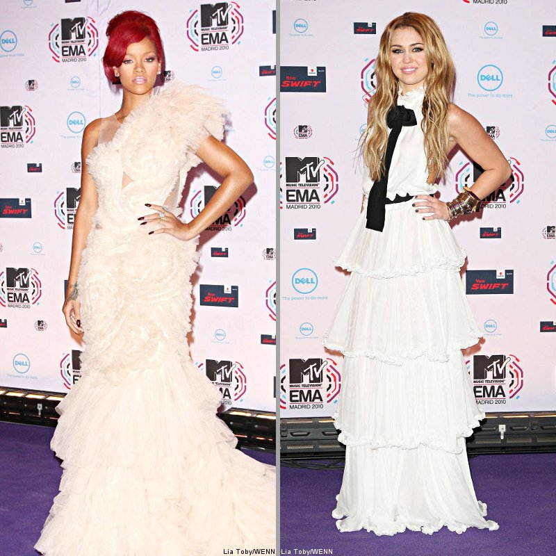 2010 EMAs' Fashion Watch: Rihanna, Miley Cyrus and More