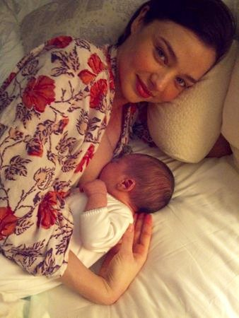 Miranda Kerr Breastfeeding in First Baby Picture