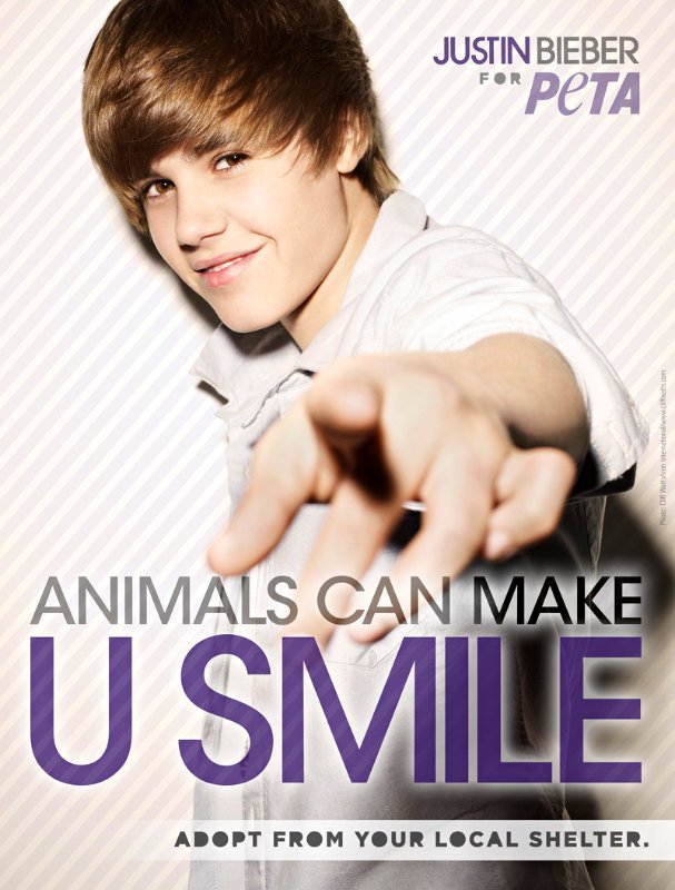 New Justin Bieber PETA Ad: Animals Can Make U Smile
