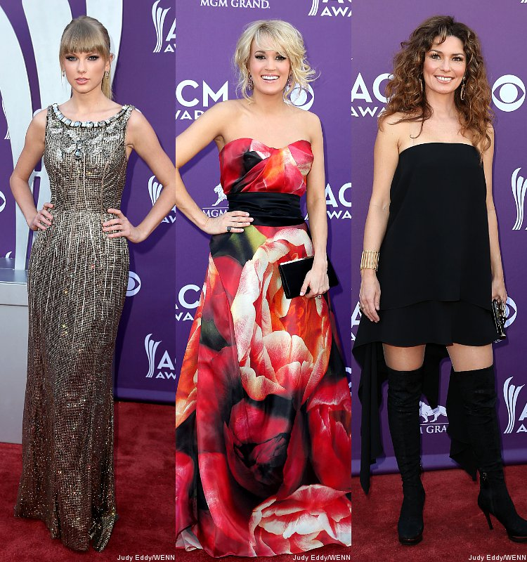 ACM Awards 2013: Taylor Swift, Carrie Underwood and Shania Twain Stun on Red Carpet