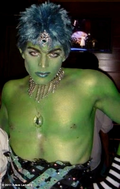 Adam Lambert Goes Green and Shirtless in Old Photo