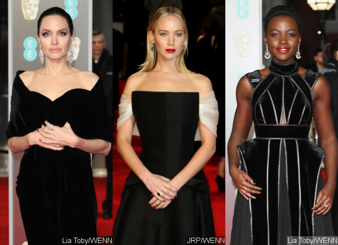 Angelina Jolie, Jennifer Lawrence, Lupita Nyong'o Stun in Black at BAFTAs to Support Time's Up