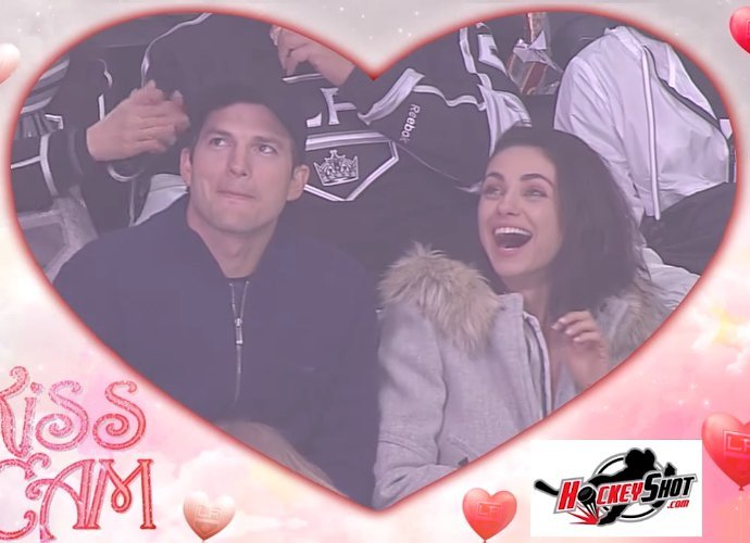 Ashton Kutcher and Mila Kunis Share Steamy Kiss on the Kiss Cam at Hockey Game - Watch!
