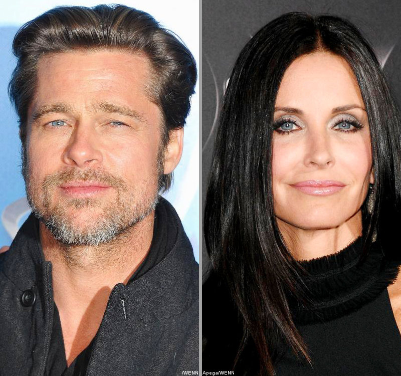 Brad Pitt Hugs and Chats With Courteney Cox at Dinner Party