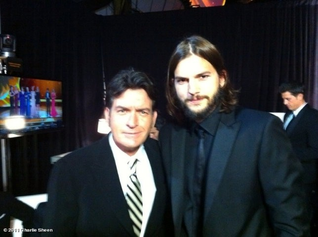 Charlie Sheen Bumps Into Ashton Kutcher at Emmys