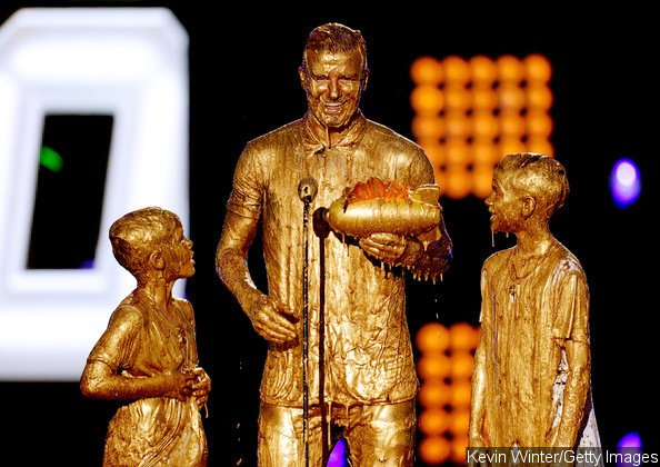 David Beckham and His Sons Showered With Golden Slime at Kids' Choice Sports Awards